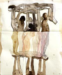 'Blijf' collage, 2008, 80 x 60 cm gemengde techniek